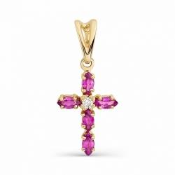 Золотой крестик с рубинами и бриллиантом