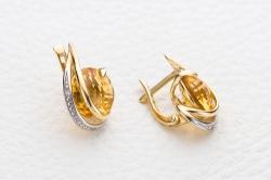 Серьги из желтого золота с цитрином и фианитом