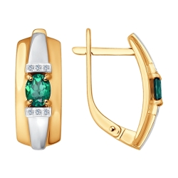 Золотые серьги (Бриллиант, Изумруд) SOKOLOV