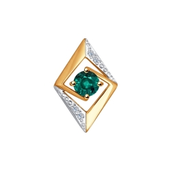 Золотая подвеска (Бриллиант, Изумруд) SOKOLOV