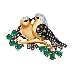 Брошь Птицы из золота с бриллиантами и изумрудами