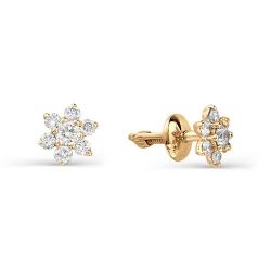 Золотые гвоздики в виде снежинок с бриллиантами