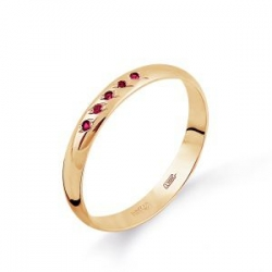 Обручальное золотое кольцо с рубином