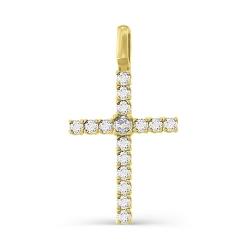 Крестик из желтого золота с большими бриллиантами