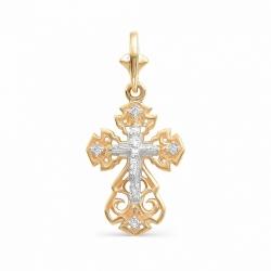 Золотой ажурный крестик с бриллиантами