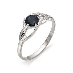 Женское кольцо из белого золота (Сапфир, Бриллиант)
