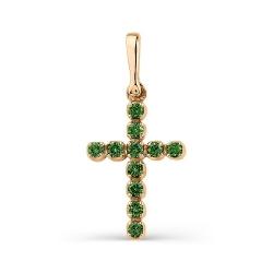 Маленький крестик из золота с изумрудами