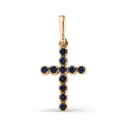 Маленький крестик из золота с сапфирами