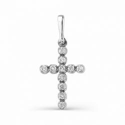 Маленький крестик из белого золота с бриллиантами