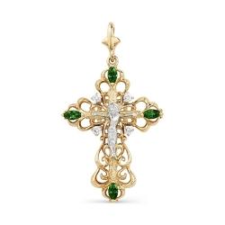 Ажурный крестик из золота с изумрудами