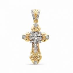 Большой мужской золотой крест с бриллиантами