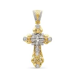 Большой крест из желтого золота с бриллиантами