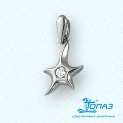 Подвеска Звезда из белого золота с фианитом