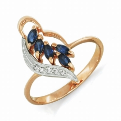 Женское золотое кольцо с сапфиром и бриллиантом