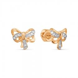 Золотые серьги гвоздики Бантики с бриллиантами