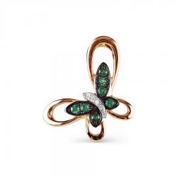 Золотая подвеска Бабочка с изумрудом, бриллиантами