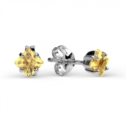 Серьги-гвоздики из белого золота с цитрином