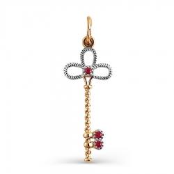 Золотая подвеска Ключ с рубинами