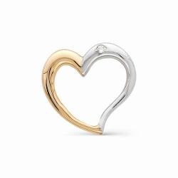 Золотая подвеска в виде сердца с одним бриллиантом