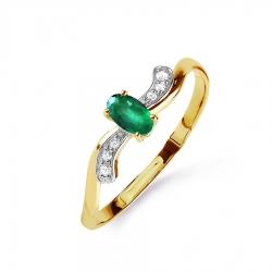 Кольцо из желтого золота с изумрудом и бриллиантом