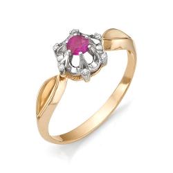 Золотое кольцо с маленьким круглым рубином