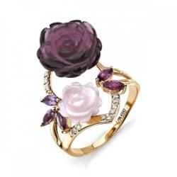 Золотое кольцо Розы с аметистами, родолитами, перламутром, фианитами