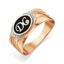 Кольцо с эмалью и фианитами