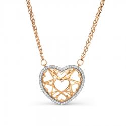 Золотое колье Сердце с фианитами