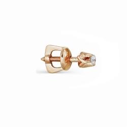 Золотая серьга гвоздик с бриллиантами