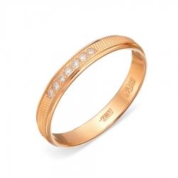 Золотое кольцо обручальное с фианитами