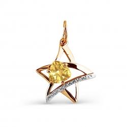 Золотая подвеска Звезда с цитрином, фианитами