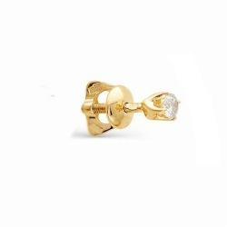 Серьга гвоздик из  золота с бриллиантом
