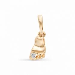 Детская золотая подвеска На рождение ребенка с бриллиантом