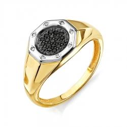 Мужское кольцо из желтого золота с черными бриллиантами