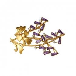 Брошь из золота 585 пробы с аметистами и бриллиантами
