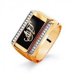 Мужское золотое кольцо с эмалью и фианитами