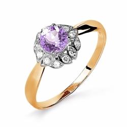 Золотое кольцо с аметистом, бриллиантами