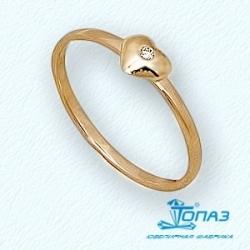 Детское золотое кольцо Сердце с фианитом