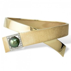 Золотой браслет «Соло» с зеленым жемчугом