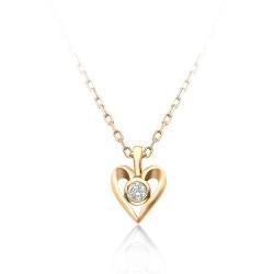 Золотое колье в виде сердца с одним бриллиантом