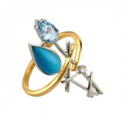 Кольцо из золота 585 пробы с бирюзой, бриллиантом, топазом