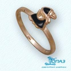Детское золотое кольцо Ворона с эмалью