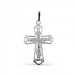 Крестик из белого золота с эмалью