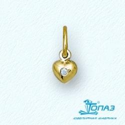 Золотая подвеска с фианитом Сердце