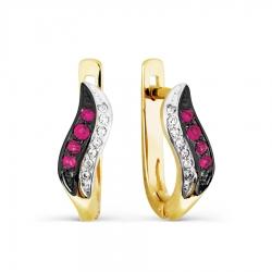 Серьги из желтого золота с рубинами, бриллиантами