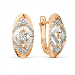 Золотые серьги с бриллиантами Имитация крупного бриллианта
