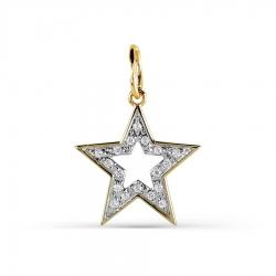 Подвеска Звезда из желтого золота с фианитами