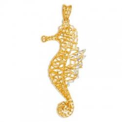 Подвеска Морской конек из желтого золота