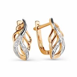 Золотые серьги Перья с бриллиантами