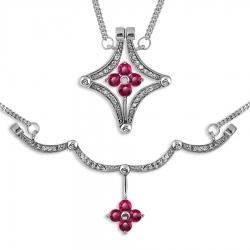 Колье Цветы из белого золота с рубинами, бриллиантами, магнитами